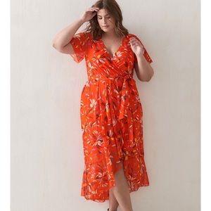 Floral Orange Flowy High-low dress 16
